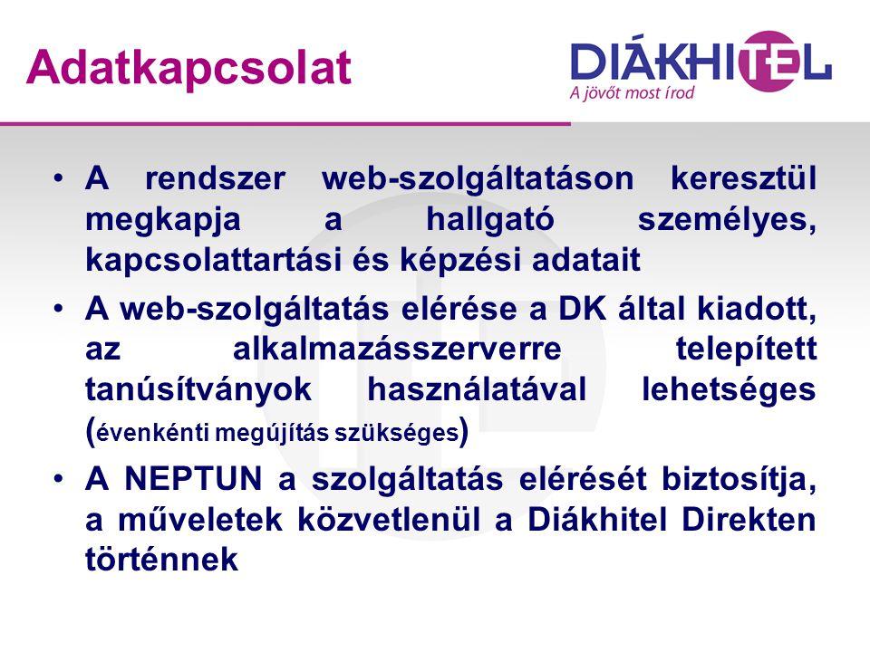 Adatkapcsolat •A rendszer web-szolgáltatáson keresztül megkapja a hallgató személyes, kapcsolattartási és képzési adatait •A web-szolgáltatás elérése