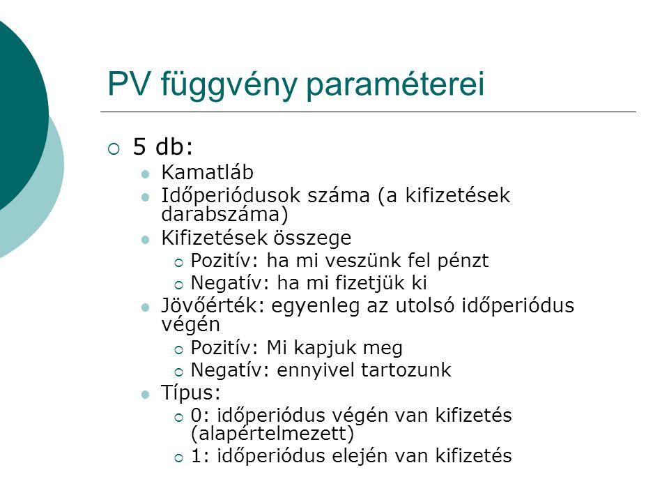 PV függvény paraméterei  5 db:  Kamatláb  Időperiódusok száma (a kifizetések darabszáma)  Kifizetések összege  Pozitív: ha mi veszünk fel pénzt 