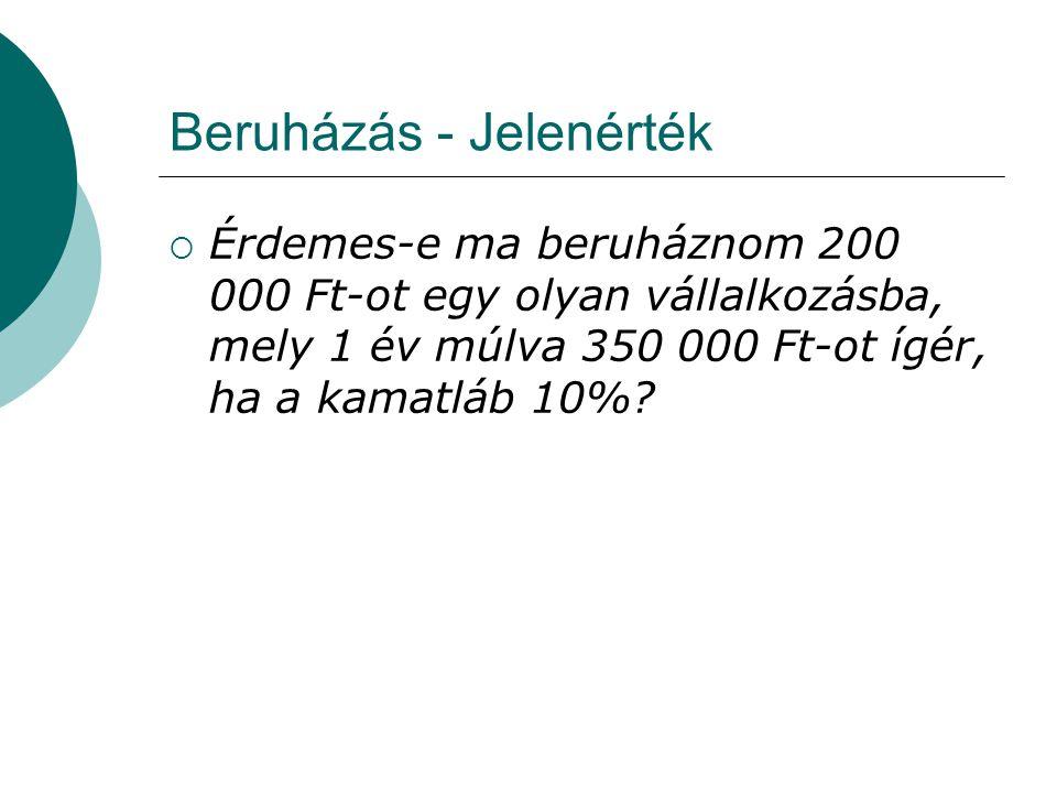 Beruházás - Jelenérték  Érdemes-e ma beruháznom 200 000 Ft-ot egy olyan vállalkozásba, mely 1 év múlva 350 000 Ft-ot ígér, ha a kamatláb 10%?