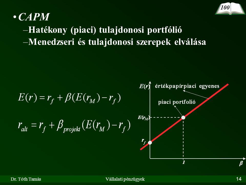 Dr. Tóth TamásVállalati pénzügyek14 •CAPM –Hatékony (piaci) tulajdonosi portfólió –Menedzseri és tulajdonosi szerepek elválása 100