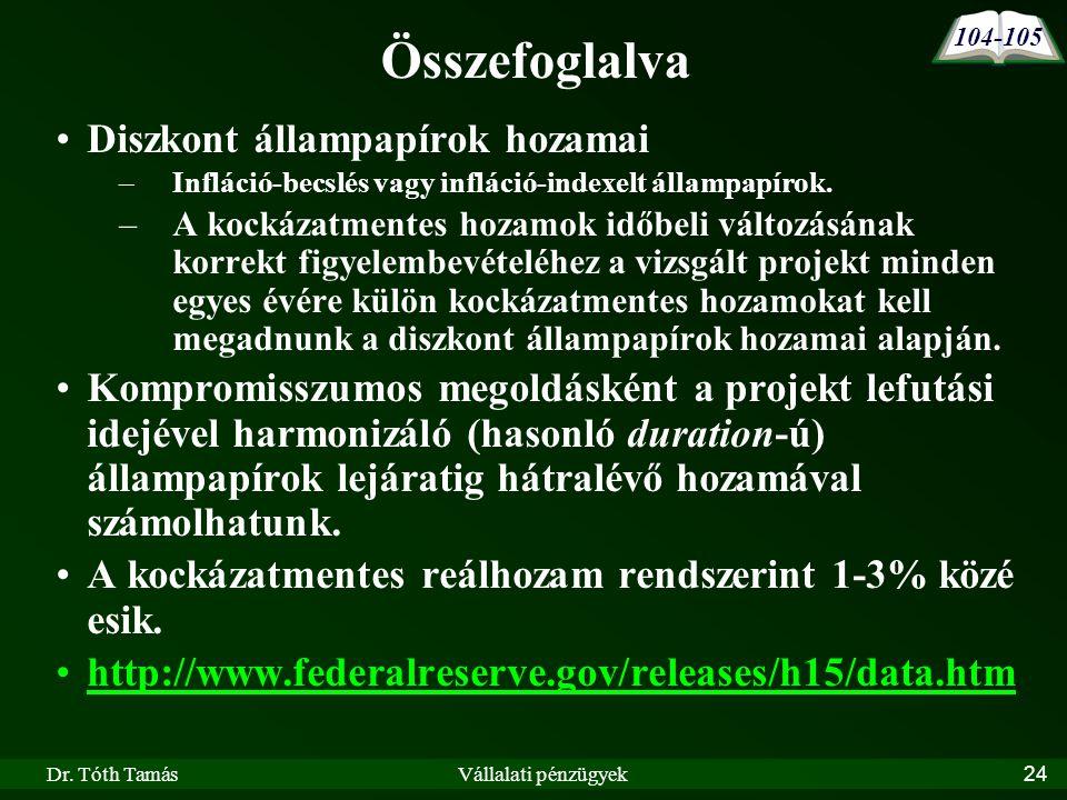 Dr. Tóth TamásVállalati pénzügyek24 Összefoglalva •Diszkont állampapírok hozamai –Infláció-becslés vagy infláció-indexelt állampapírok. –A kockázatmen