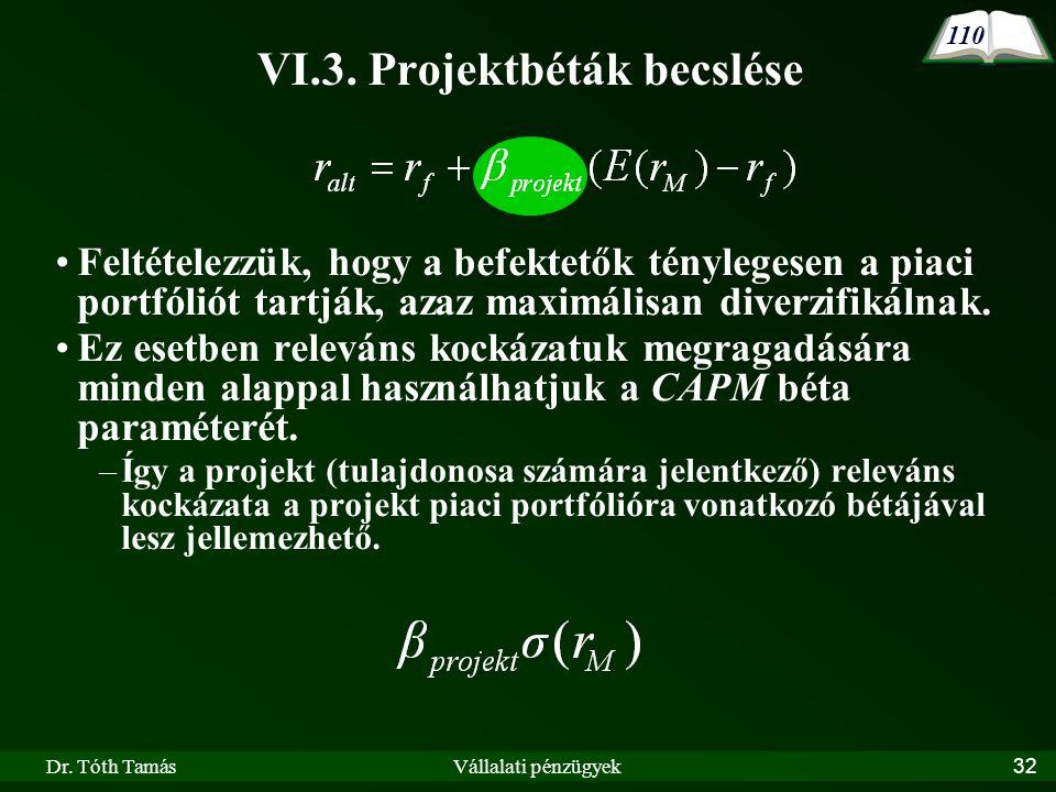 Dr. Tóth TamásVállalati pénzügyek32 VI.3. Projektbéták becslése •Feltételezzük, hogy a befektetők ténylegesen a piaci portfóliót tartják, azaz maximál