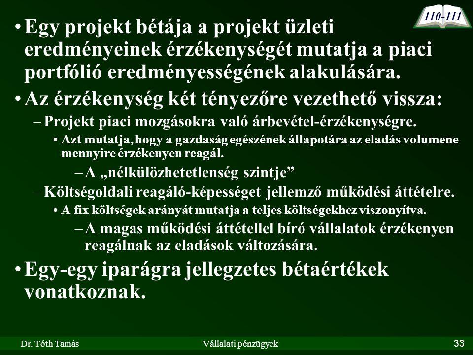 Dr. Tóth TamásVállalati pénzügyek33 •Egy projekt bétája a projekt üzleti eredményeinek érzékenységét mutatja a piaci portfólió eredményességének alaku