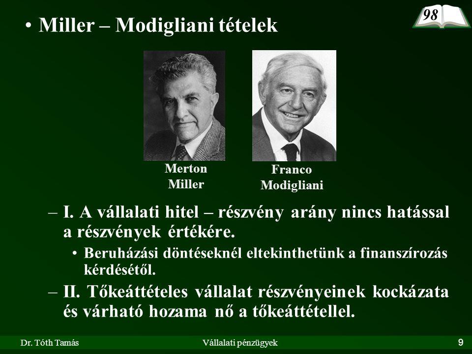 Dr. Tóth TamásVállalati pénzügyek9 •Miller – Modigliani tételek –I. A vállalati hitel – részvény arány nincs hatással a részvények értékére. •Beruházá