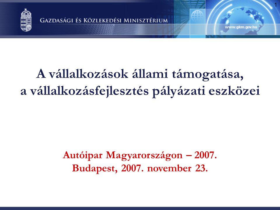 1 A vállalkozások állami támogatása, a vállalkozásfejlesztés pályázati eszközei Autóipar Magyarországon – 2007. Budapest, 2007. november 23.