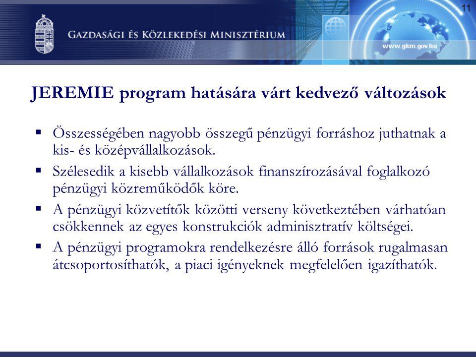 11 JEREMIE program hatására várt kedvező változások  Összességében nagyobb összegű pénzügyi forráshoz juthatnak a kis- és középvállalkozások.  Széle