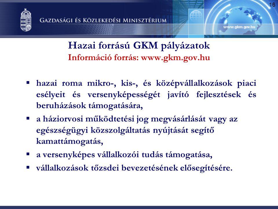 16 Hazai forrású GKM pályázatok Információ forrás: www.gkm.gov.hu  hazai roma mikro-, kis-, és középvállalkozások piaci esélyeit és versenyképességét