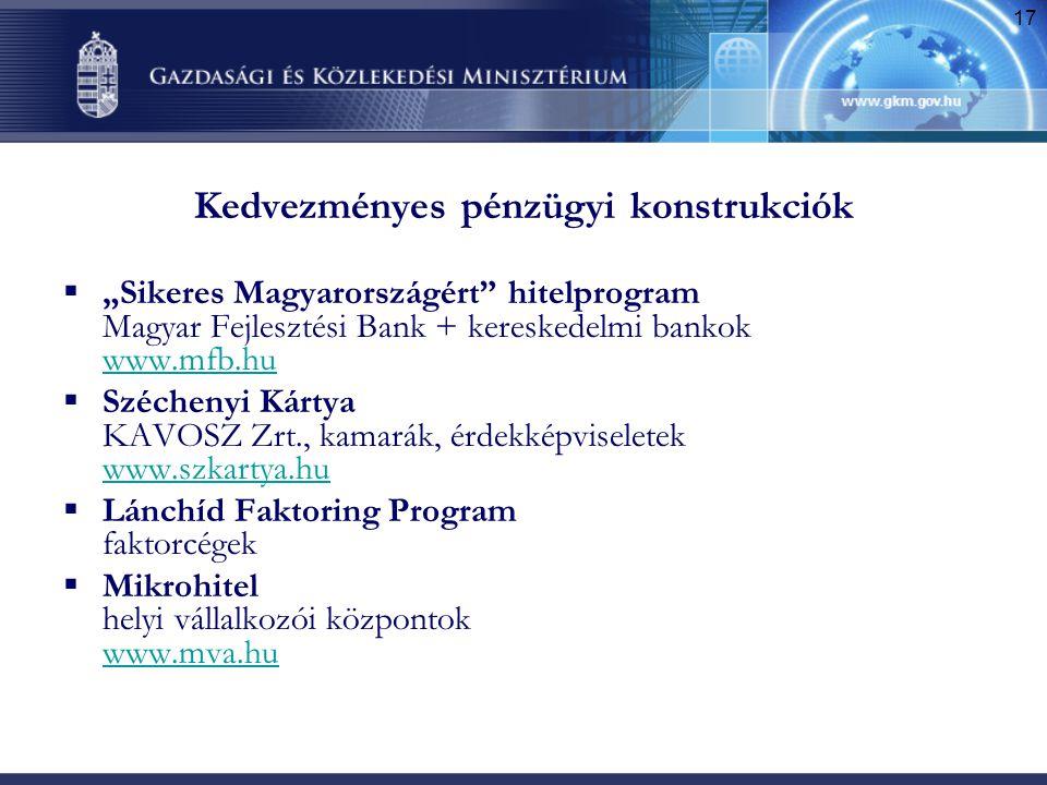 """17 Kedvezményes pénzügyi konstrukciók  """"Sikeres Magyarországért"""" hitelprogram Magyar Fejlesztési Bank + kereskedelmi bankok www.mfb.hu www.mfb.hu  S"""