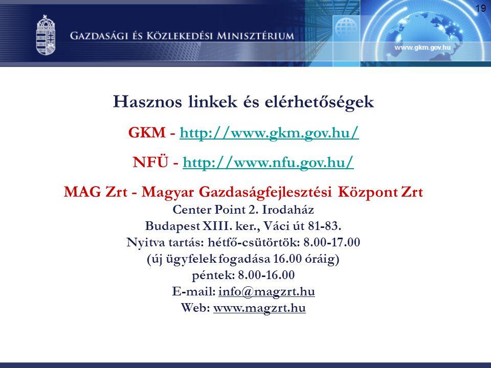19 Hasznos linkek és elérhetőségek GKM - http://www.gkm.gov.hu/http://www.gkm.gov.hu/ NFÜ - http://www.nfu.gov.hu/http://www.nfu.gov.hu/ MAG Zrt - Mag