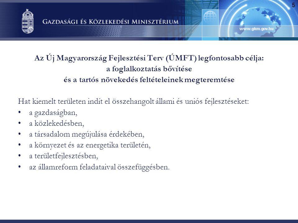 5 Az Új Magyarország Fejlesztési Terv (ÚMFT) legfontosabb célja: a foglalkoztatás bővítése és a tartós növekedés feltételeinek megteremtése Hat kiemel