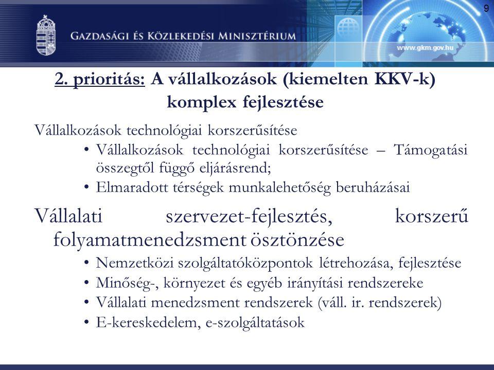 9 2. prioritás: A vállalkozások (kiemelten KKV-k) komplex fejlesztése Vállalkozások technológiai korszerűsítése •Vállalkozások technológiai korszerűsí