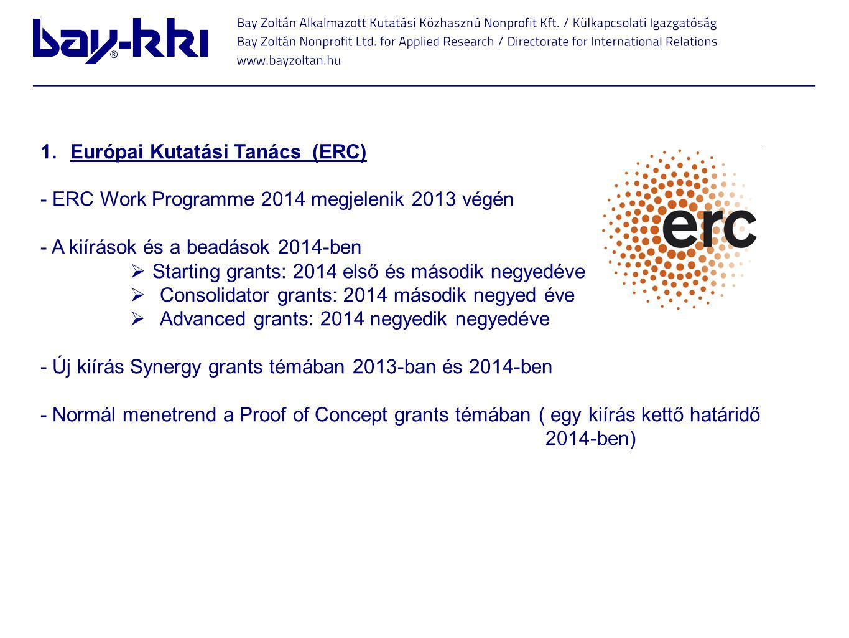 1.Európai Kutatási Tanács (ERC) - ERC Work Programme 2014 megjelenik 2013 végén - A kiírások és a beadások 2014-ben  Starting grants: 2014 első és má