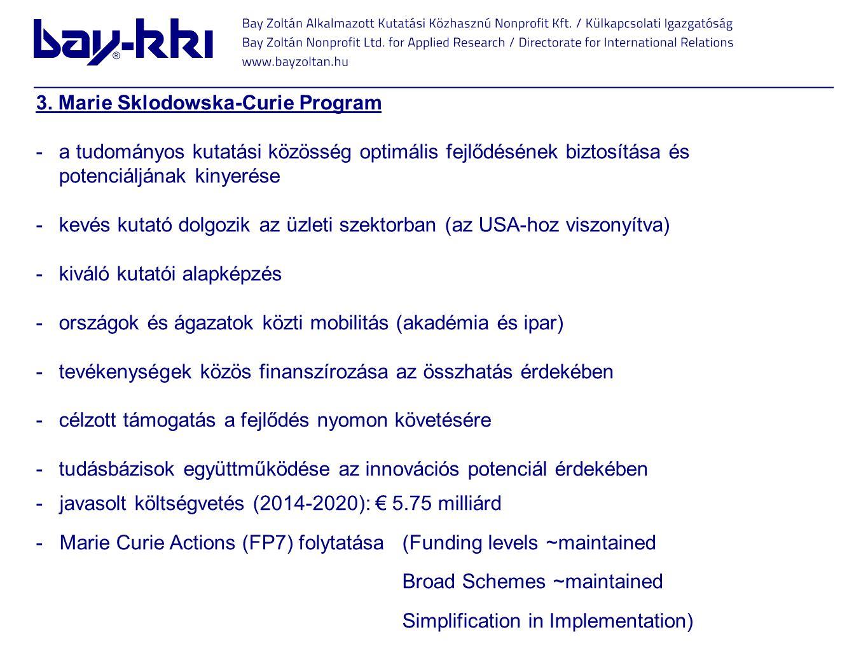 3. Marie Sklodowska-Curie Program -a tudományos kutatási közösség optimális fejlődésének biztosítása és potenciáljának kinyerése -kevés kutató dolgozi