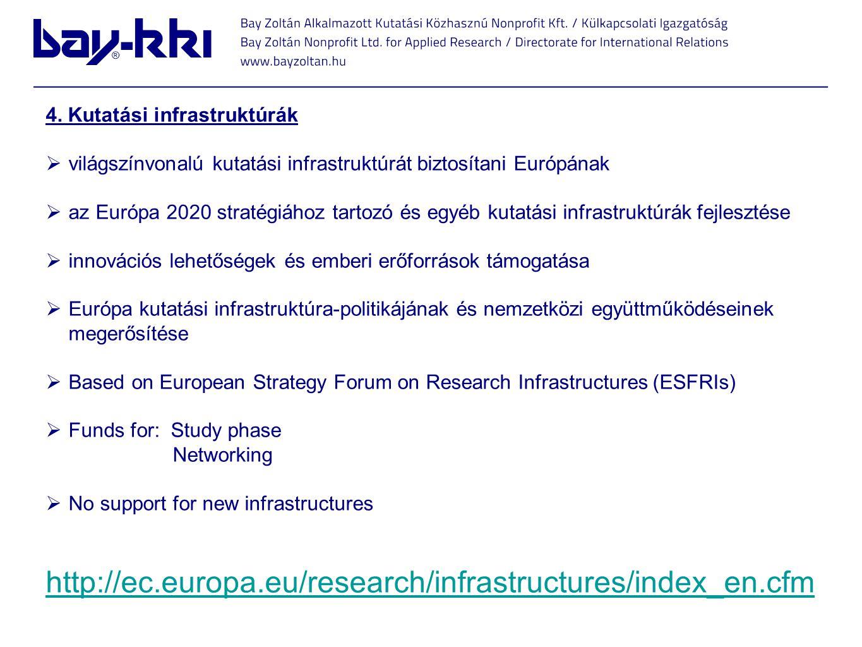 4. Kutatási infrastruktúrák  világszínvonalú kutatási infrastruktúrát biztosítani Európának  az Európa 2020 stratégiához tartozó és egyéb kutatási i