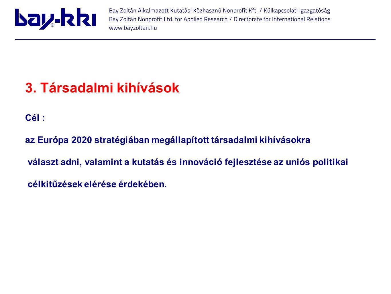 3. Társadalmi kihívások Cél : az Európa 2020 stratégiában megállapított társadalmi kihívásokra választ adni, valamint a kutatás és innováció fejleszté