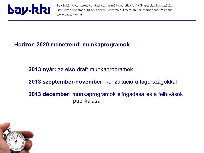 Horizon 2020 menetrend: munkaprogramok 2013 nyár: az első draft munkaprogramok 2013 szeptember-november: konzultáció a tagországokkal 2013 december: m