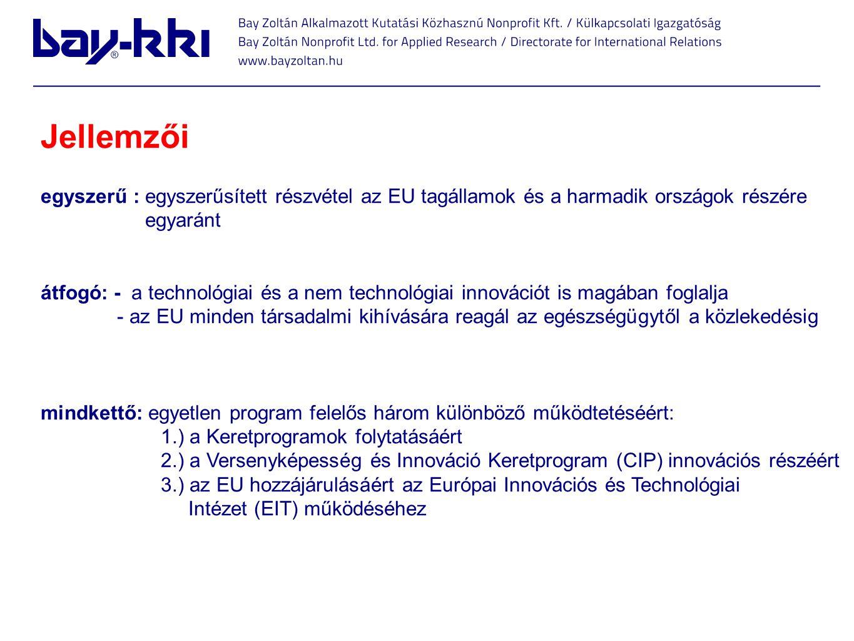 Mik az újdonságok? Jellemzői egyszerű : egyszerűsített részvétel az EU tagállamok és a harmadik országok részére egyaránt átfogó: - a technológiai és