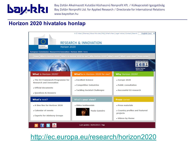 http://ec.europa.eu/research/horizon2020 Horizon 2020 hivatalos honlap
