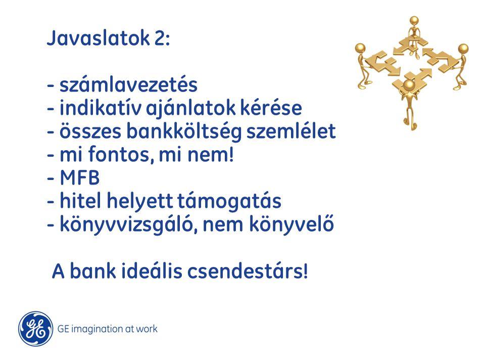 Javaslatok 2: - számlavezetés - indikatív ajánlatok kérése - összes bankköltség szemlélet - mi fontos, mi nem! - MFB - hitel helyett támogatás - könyv