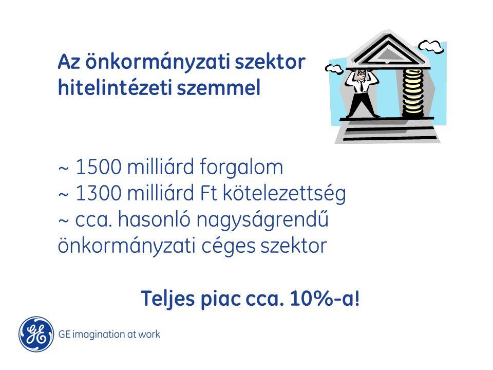 Az önkormányzati szektor hitelintézeti szemmel ~ 1500 milliárd forgalom ~ 1300 milliárd Ft kötelezettség ~ cca. hasonló nagyságrendű önkormányzati cég