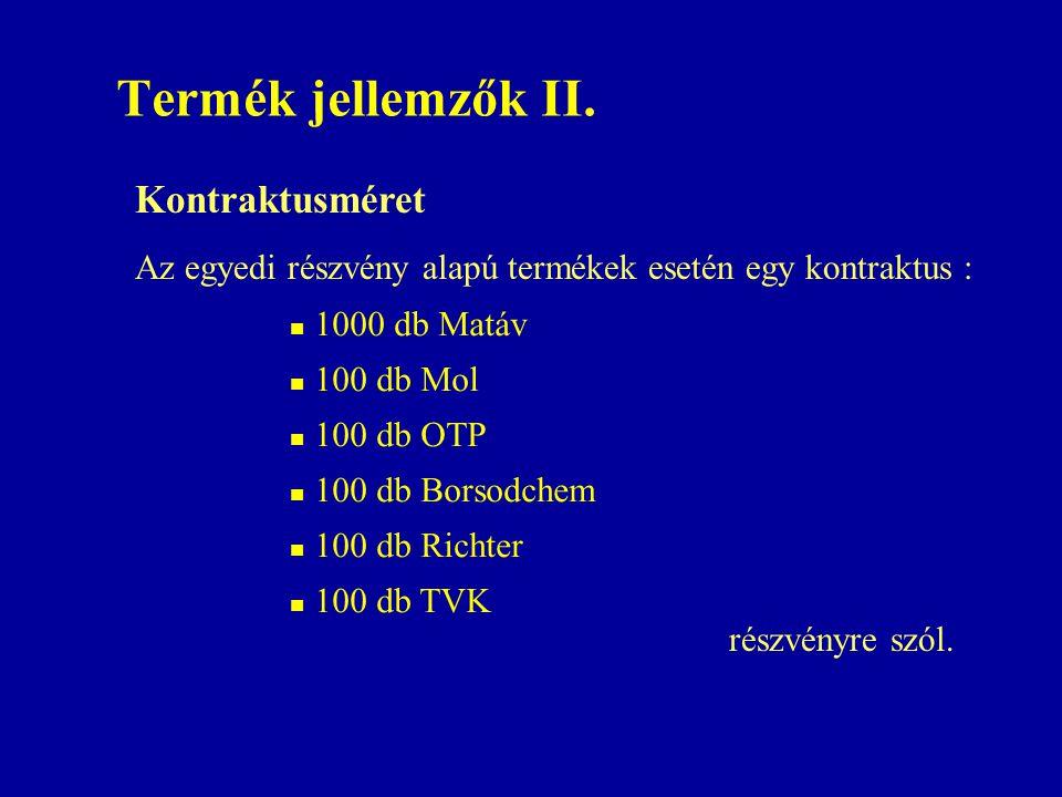 Termék jellemzők II.  1000 db Matáv  100 db Mol  100 db OTP  100 db Borsodchem  100 db Richter  100 db TVK Kontraktusméret Az egyedi részvény al