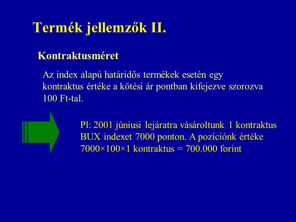 Termék jellemzők II. Pl: 2001 júniusi lejáratra vásároltunk 1 kontraktus BUX indexet 7000 ponton. A pozíciónk értéke 7000×100×1 kontraktus = 700.000 f