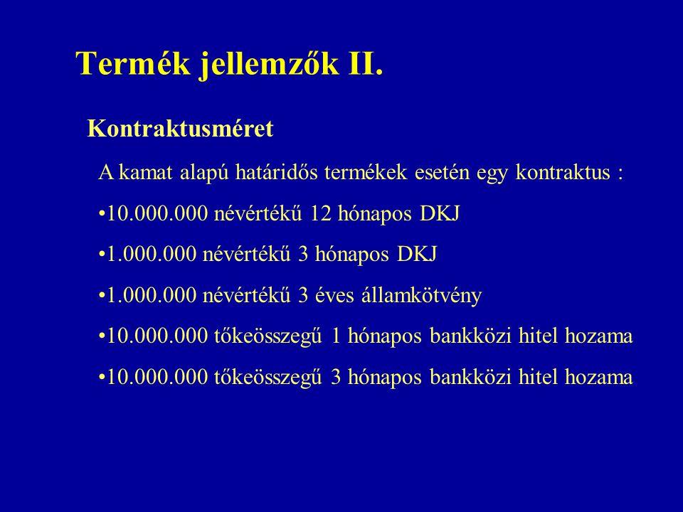 Termék jellemzők II. Kontraktusméret A kamat alapú határidős termékek esetén egy kontraktus : •10.000.000 névértékű 12 hónapos DKJ •1.000.000 névérték