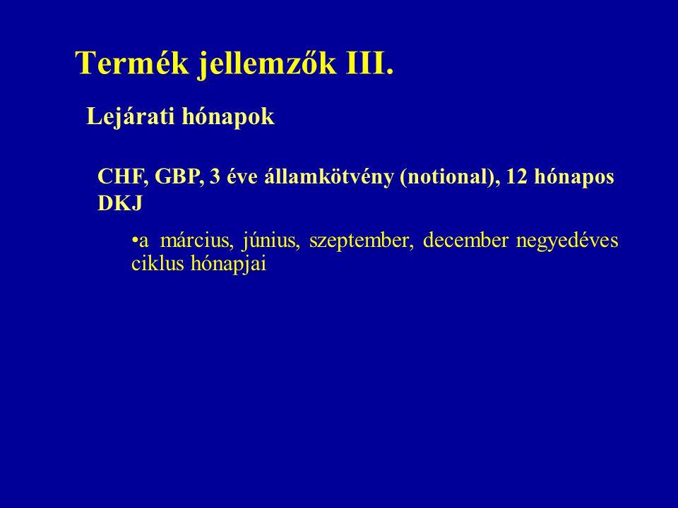Termék jellemzők III. Lejárati hónapok CHF, GBP, 3 éve államkötvény (notional), 12 hónapos DKJ •a március, június, szeptember, december negyedéves cik