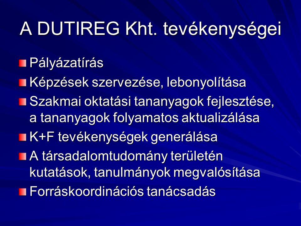 A DUTIREG Kht. tevékenységei Pályázatírás Képzések szervezése, lebonyolítása Szakmai oktatási tananyagok fejlesztése, a tananyagok folyamatos aktualiz