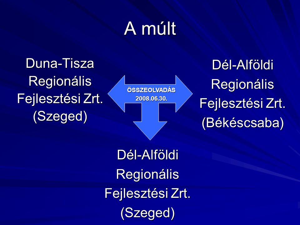 A múlt Duna-TiszaRegionális Fejlesztési Zrt. (Szeged)Dél-AlföldiRegionális (Békéscsaba) Dél-AlföldiRegionális (Szeged) ÖSSZEOLVADÁS2008.06.30.