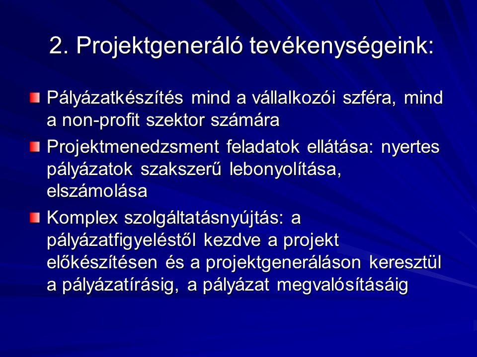 2. Projektgeneráló tevékenységeink: 2. Projektgeneráló tevékenységeink: Pályázatkészítés mind a vállalkozói szféra, mind a non-profit szektor számára