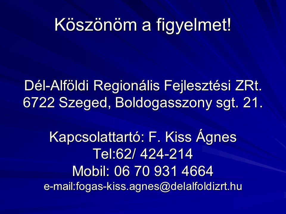 Köszönöm a figyelmet! Dél-Alföldi Regionális Fejlesztési ZRt. 6722 Szeged, Boldogasszony sgt. 21. Kapcsolattartó: F. Kiss Ágnes Tel:62/ 424-214 Mobil: