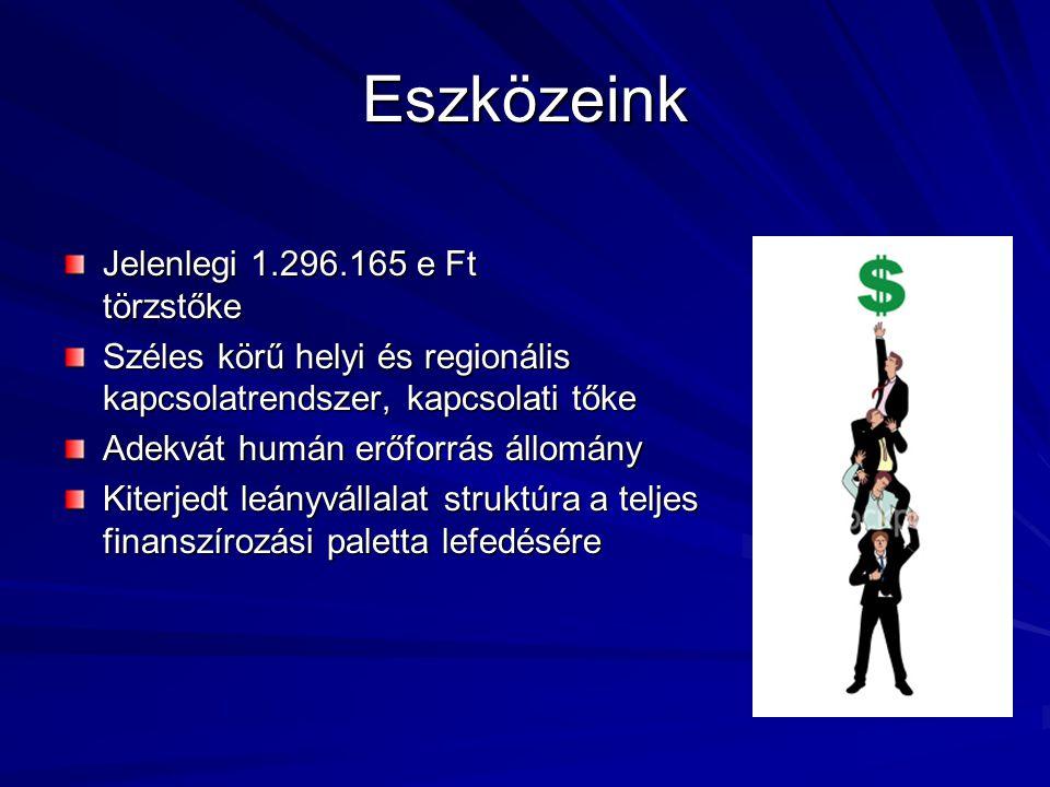 Eszközeink Jelenlegi 1.296.165 e Ft törzstőke Széles körű helyi és regionális kapcsolatrendszer, kapcsolati tőke Adekvát humán erőforrás állomány Kite