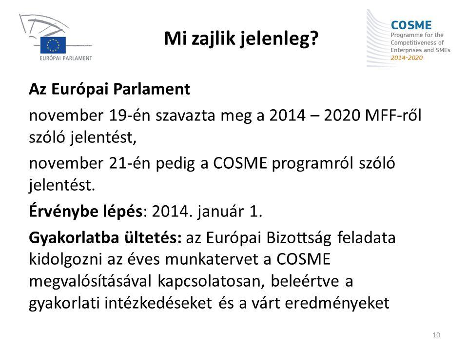 Mi zajlik jelenleg? Az Európai Parlament november 19-én szavazta meg a 2014 – 2020 MFF-ről szóló jelentést, november 21-én pedig a COSME programról sz