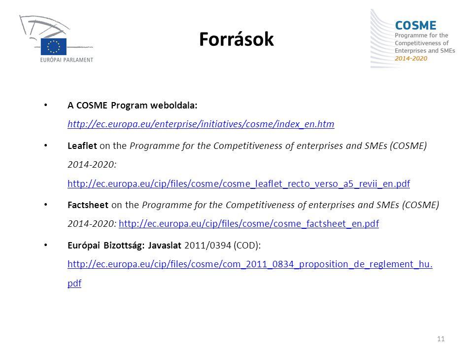 Források • A COSME Program weboldala: http://ec.europa.eu/enterprise/initiatives/cosme/index_en.htm http://ec.europa.eu/enterprise/initiatives/cosme/i