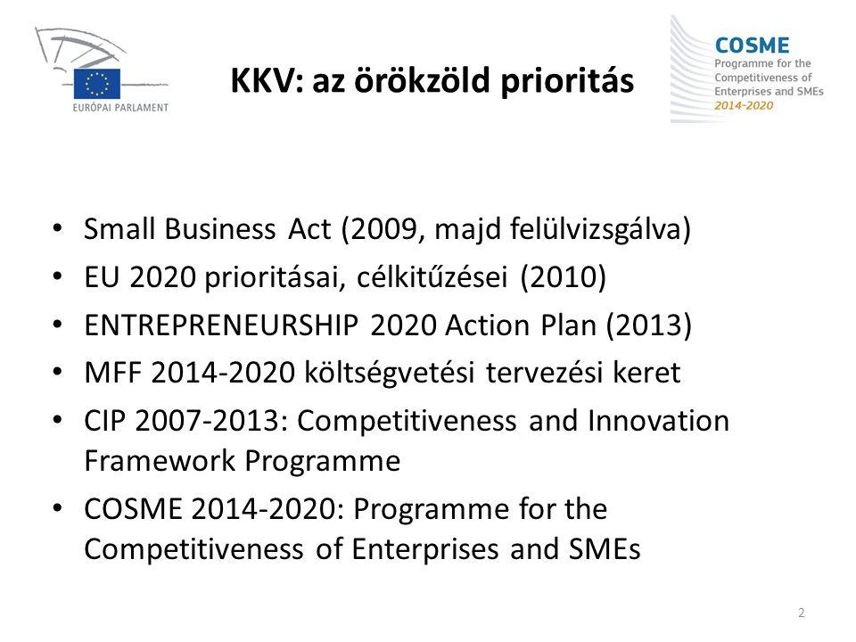 KKV: az örökzöld prioritás • Small Business Act (2009, majd felülvizsgálva) • EU 2020 prioritásai, célkitűzései (2010) • ENTREPRENEURSHIP 2020 Action