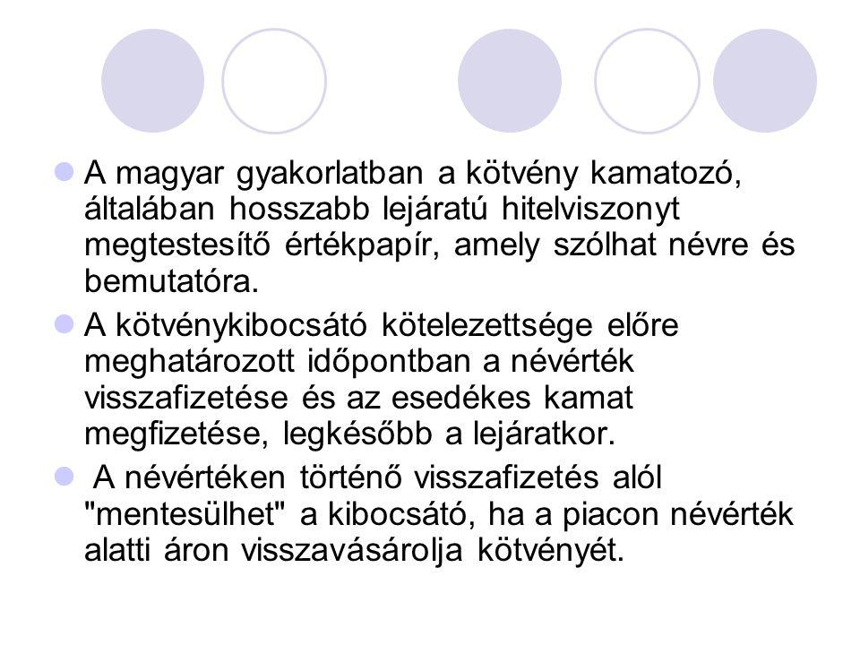  A magyar gyakorlatban a kötvény kamatozó, általában hosszabb lejáratú hitelviszonyt megtestesítő értékpapír, amely szólhat névre és bemutatóra.  A