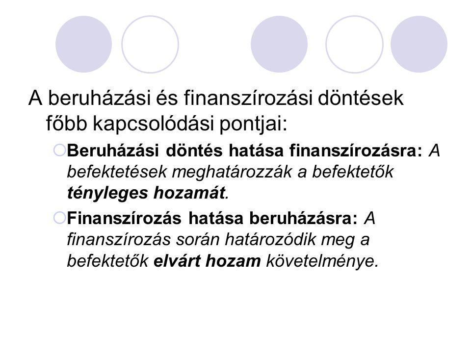 A beruházási és finanszírozási döntések főbb kapcsolódási pontjai:  Beruházási döntés hatása finanszírozásra: A befektetések meghatározzák a befektet