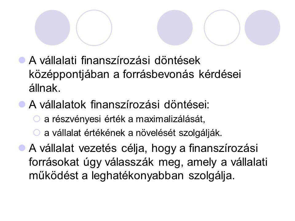  A vállalati finanszírozási döntések középpontjában a forrásbevonás kérdései állnak.  A vállalatok finanszírozási döntései:  a részvényesi érték a