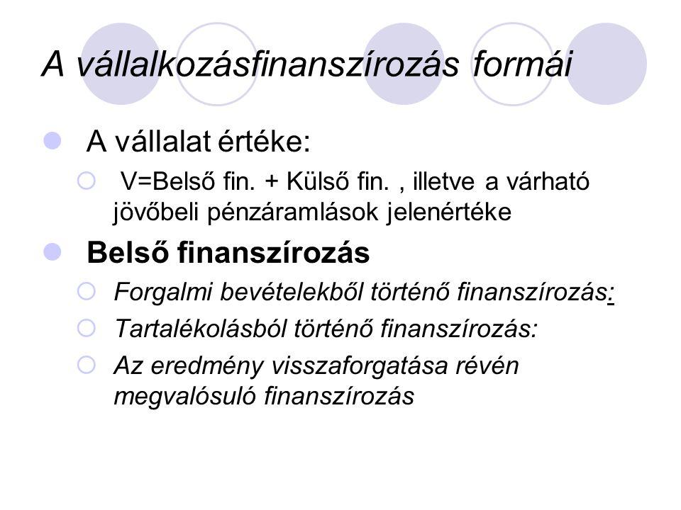 A vállalkozásfinanszírozás formái  A vállalat értéke:  V=Belső fin. + Külső fin., illetve a várható jövőbeli pénzáramlások jelenértéke  Belső finan