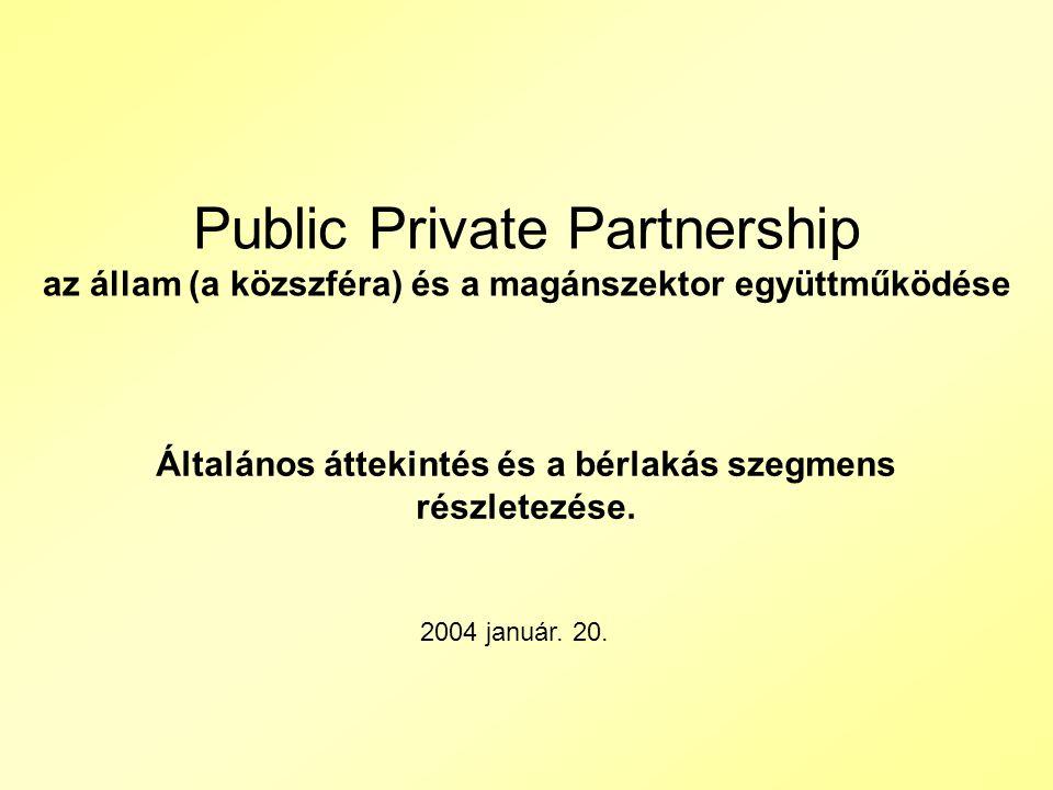 Public Private Partnership az állam (a közszféra) és a magánszektor együttműködése Általános áttekintés és a bérlakás szegmens részletezése.