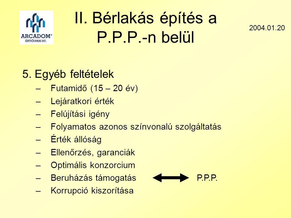 II. Bérlakás építés a P.P.P.-n belül 2004.01.20 5.