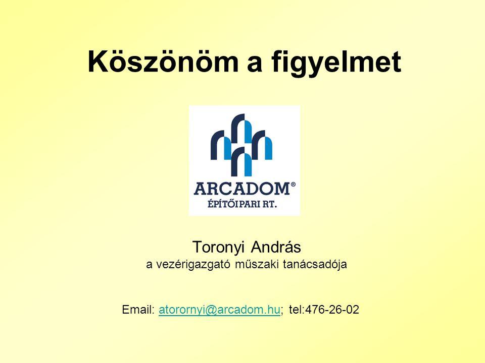 Toronyi András a vezérigazgató műszaki tanácsadója Köszönöm a figyelmet Email: atorornyi@arcadom.hu; tel:476-26-02atorornyi@arcadom.hu