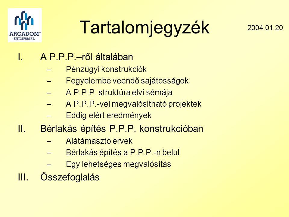 Tartalomjegyzék I.A P.P.P.–ről általában –Pénzügyi konstrukciók –Fegyelembe veendő sajátosságok –A P.P.P.