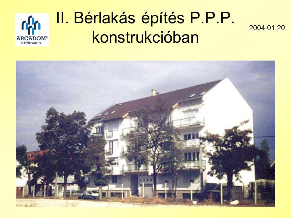 II. Bérlakás építés P.P.P. konstrukcióban 2004.01.20