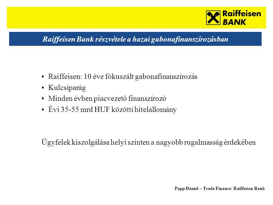 Sub - Heading Raiffeisen Bank részvétele a hazai gabonafinanszírozásban •Raiffeisen: 10 éve fókuszált gabonafinanszírozás •Kulcsiparág •Minden évben piacvezető finanszírozó •Évi 35-55 mrd HUF közötti hitelállomány Ügyfelek kiszolgálása helyi szinten a nagyobb rugalmasság érdekében Papp Dániel – Trade Finance/ Raiffeisen Bank