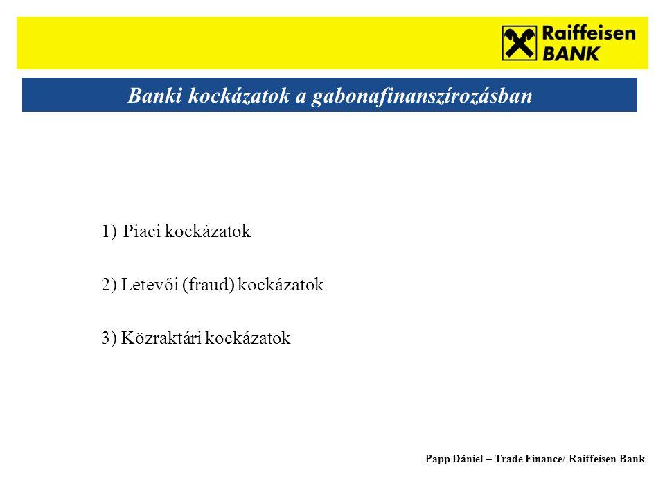 Sub - Heading Banki kockázatok a gabonafinanszírozásban 1)Piaci kockázatok 2) Letevői (fraud) kockázatok 3) Közraktári kockázatok Papp Dániel – Trade Finance/ Raiffeisen Bank