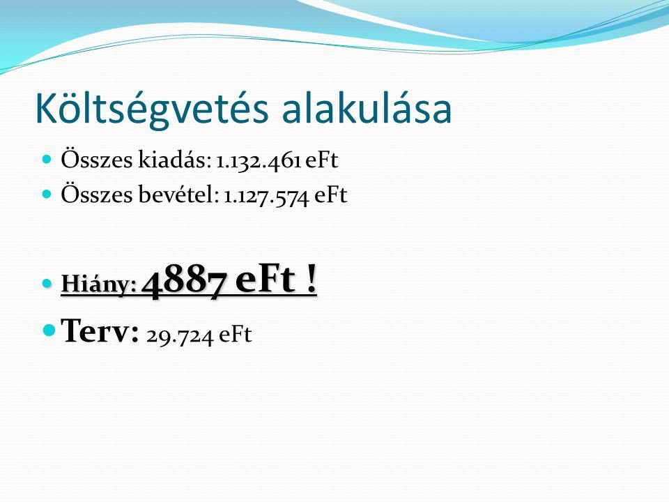 Év végi hitelállomány (december 31.)  Folyószámla hitel: 7703 eFt  Hosszúlejáratú hitelek:  Kerékpárút hitel: 29130 eFt (Tavalyi: 30 MFt)  SZTK beruházás: 63407 eFt (Terv:76,63 MFt)