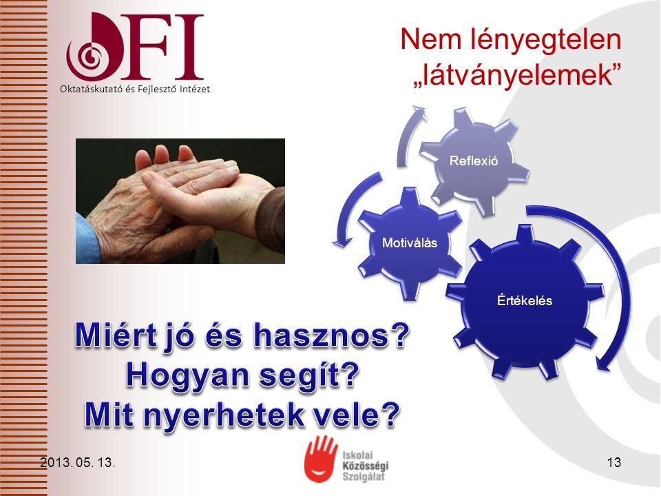 """Oktatáskutató és Fejlesztő Intézet Nem lényegtelen """"látványelemek"""" 2013. 05. 13.13 Értékelés Motiválás Reflexió"""