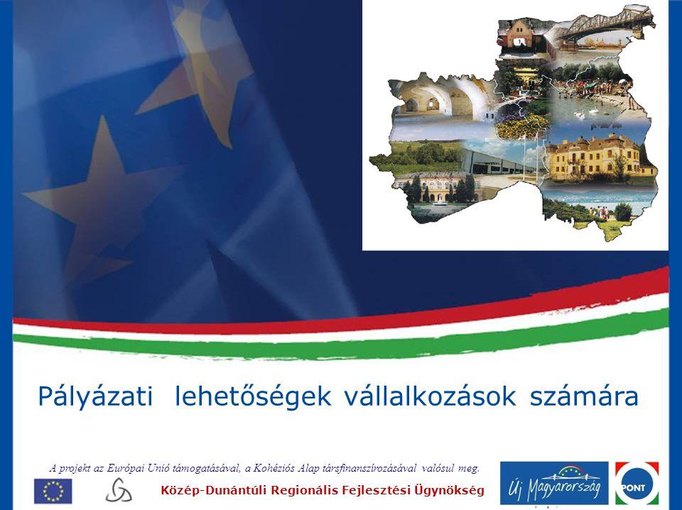 Új Magyarország Fejlesztési Terv Operatív Programjai •Gazdaságfejlesztés OP (GOP) •Közlekedés OP (KözOP) •Társadalmi megújulás OP (TÁMOP) •Társadalmi infrastruktúra OP(TIOP) •Környezet és energia OP (KEOP) •Államreform OP (ÁROP) •Elektronikus közigazgatás OP (EKOP) •Közép-dunántúli OP (KDOP) A projekt az Európai Unió támogatásával, a Kohéziós Alap társfinanszírozásával valósul meg.